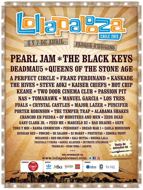 Confirmado lineup Lollapalooza 2013 3