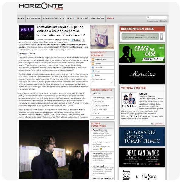 La histórica entrevista de Radio Horizonte a Pulp 1