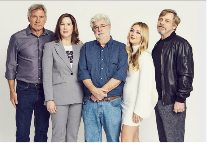 Billie Lourd, Harrison Ford y George Lucas en homenaje a Carrie Fisher 3