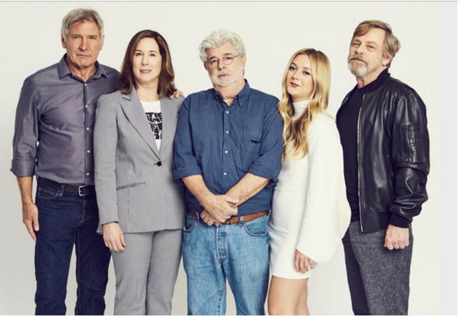 Billie Lourd, Harrison Ford y George Lucas en homenaje a Carrie Fisher 1