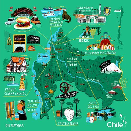 Mapas ilustrados: Exposición colaborativa muestra los íconos de Chile 2
