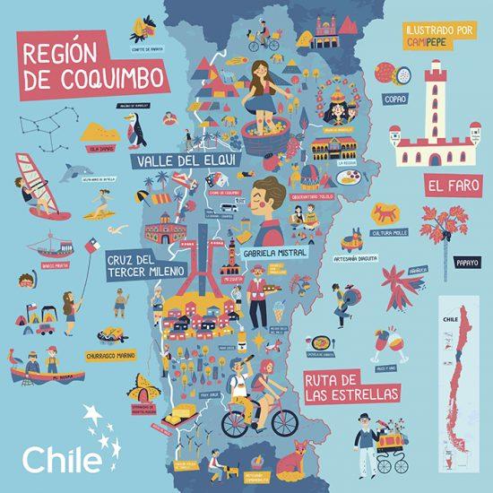Mapas ilustrados: Exposición colaborativa muestra los íconos de Chile 1