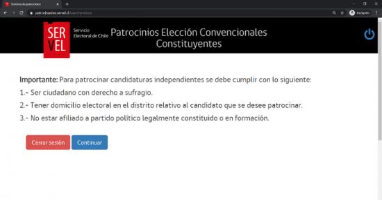 Aceptar términos para patrocinar un constituyente en Servel