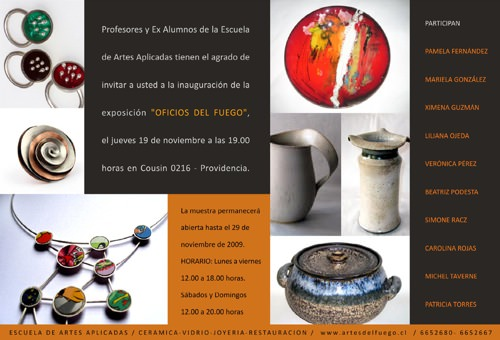 Invitacion Exposicion Artes del Fuego Dic 2009