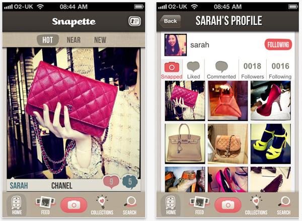 Snapette, la aplicación de los zapatos y las carteras 1