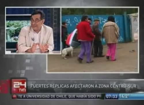 Entrevista a sismólogo Raúl Madariaga en TVN 1