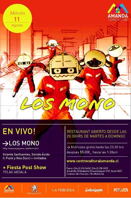 MIE/11/08 Los Mono en vivo 1