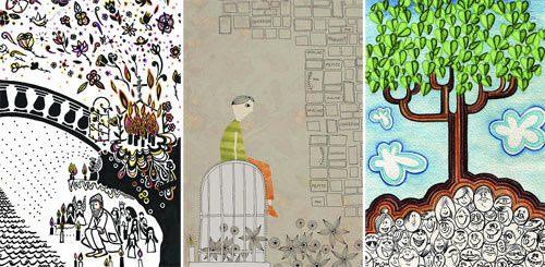 Animitas ilustradas en formato postal 1